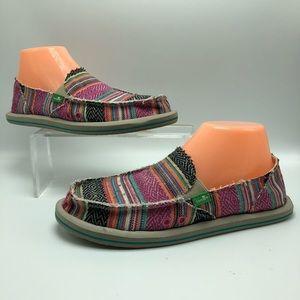 Sanuk Donna Slip-on Loafers Flats Poncho Striped